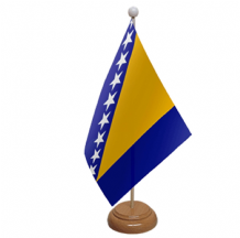 BOSNIA & HERZEGOVINA - TABLE FLAG WITH WOODEN BASE